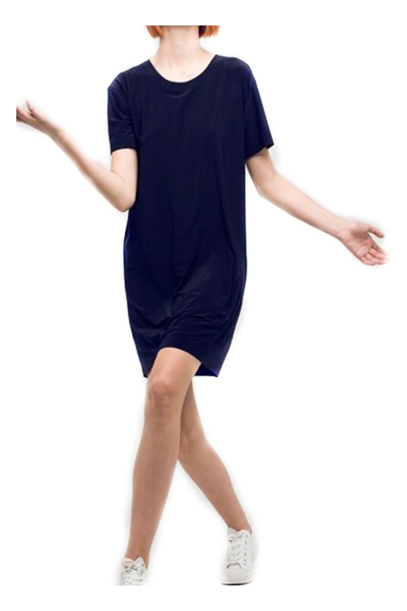 Norma Kamali - Women's Short Sleeve Boxy Dress - Midnight