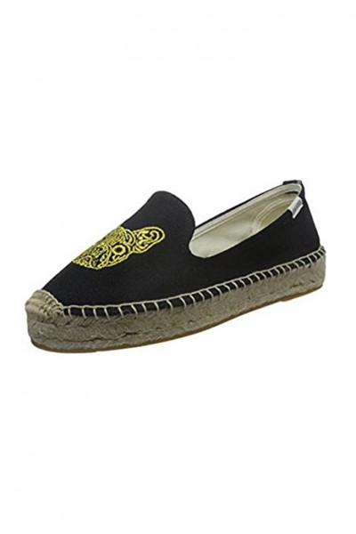Soludos - Women's Boxer Platform Smoking Slipper - Black Gold