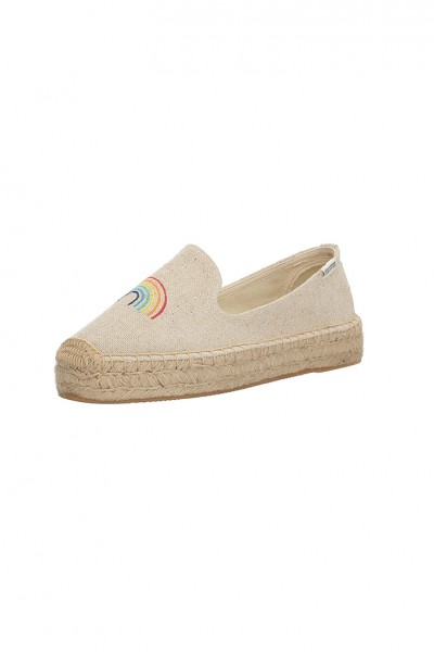 Soludos - Women's Rainbow Platform Smoking Slipper Flat - Sand