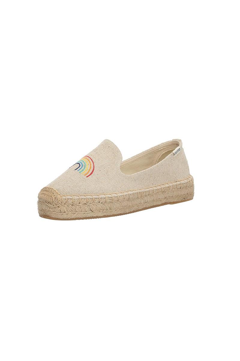 Soludos - Women's Rainbow Platform Smoking Slipper Flat - Sand