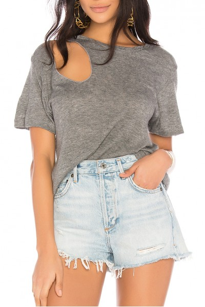 LNA - Women's  Reina Slash Tee - Heather Grey