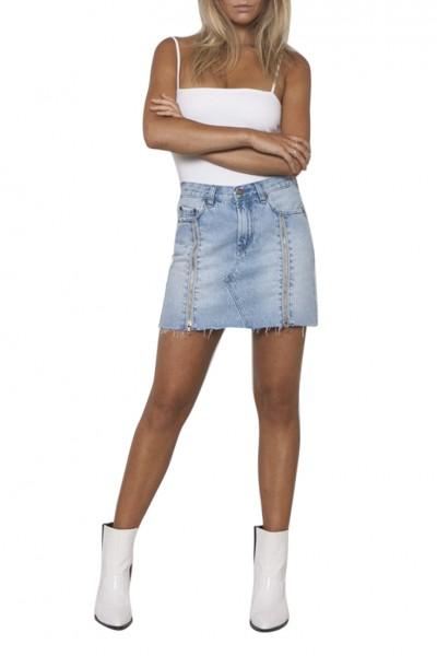 Neon Blonde - Women's Trace Zip Skirt - Shattered Blues