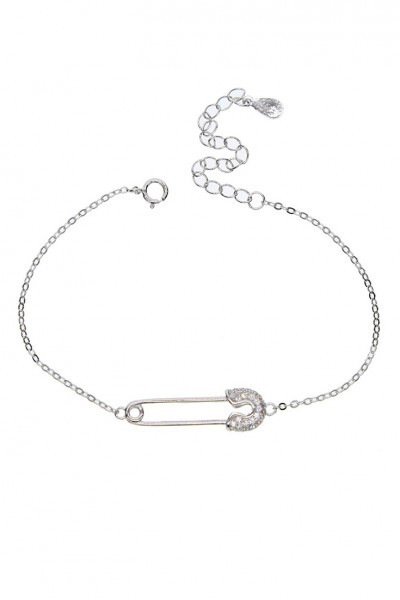 Tease By Tory - Women's Safety Pin Bracelet -Silver