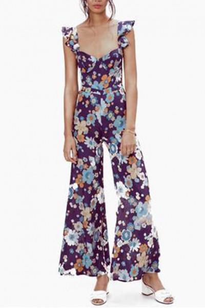 For Love And Lemons - Women's Magnolia Ruffled Jumpsuit - Midnight Blossom