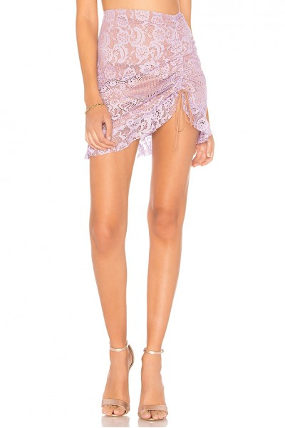 For Love And Lemons - Women's Valentina Lace Mini Skirt - Lavender
