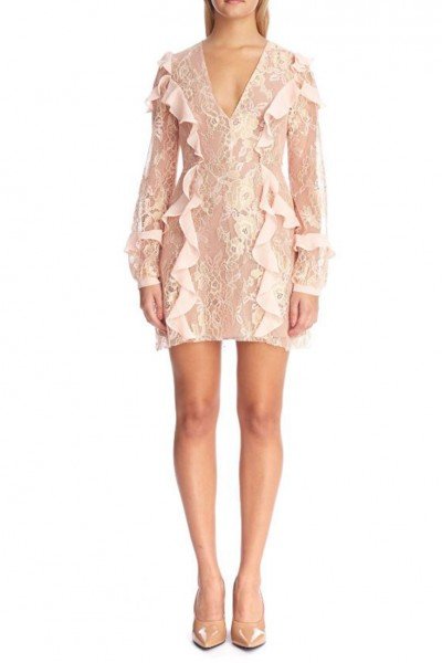 For Love And Lemons - Women's Bumble LS Ruffle Dress - Rose Gold