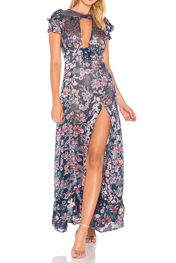 d8b6eafdf5e For Love And Lemons - Women s Flora Maxi Dress - Navy Floral