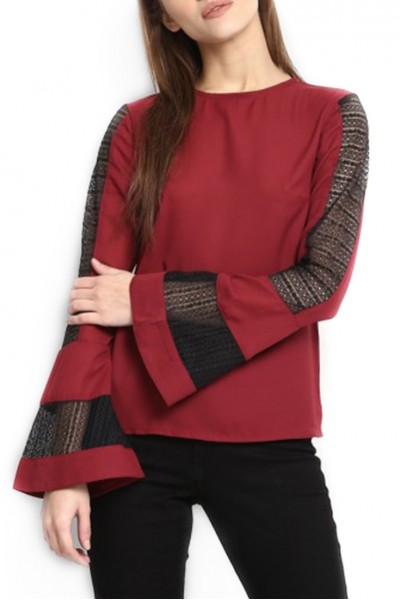 Publish Brand - Women's Arenna Bell Sleeve Top - Maroon