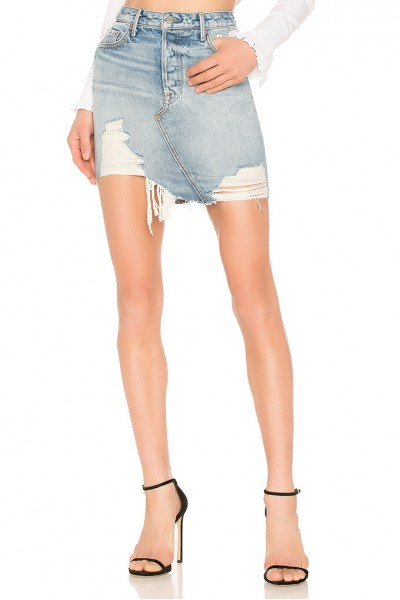 GRLFRND - Women's Rhoda High Low Mini Skirt - Lava Bed