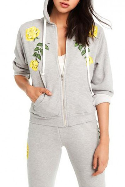 Wildfox - Women's Friendship Roses Regan Zip Hoodie - Heather