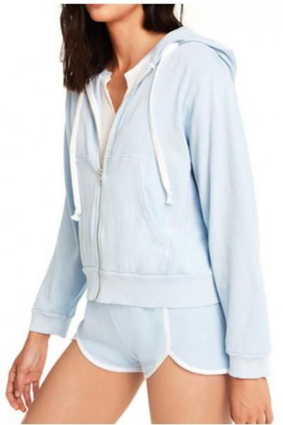 Wildfox - Women's Regan Zip Hoodie - Pigment Saddle Blue