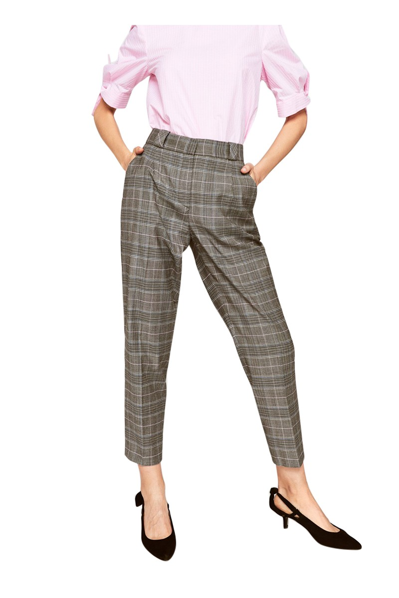 Tara Jarmon - Women's Mottled Grey Prince Of Wales Check Trousers - Dark Grey