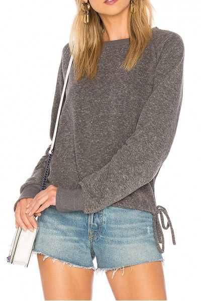 LNA - Women's Heathered Cinched Sweatshirt - Heather Grey