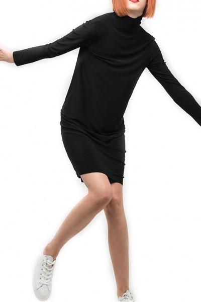 Norma Kamali - Women's Long Sleeve Turtleneck Dress To Knee - Black