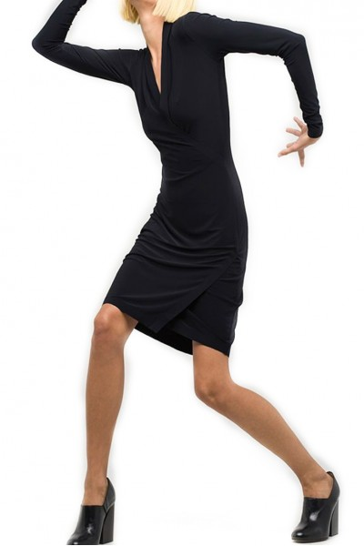 Norma Kamali - Women's Long Sleeve Modern Side Drape Dress to Knee - Black