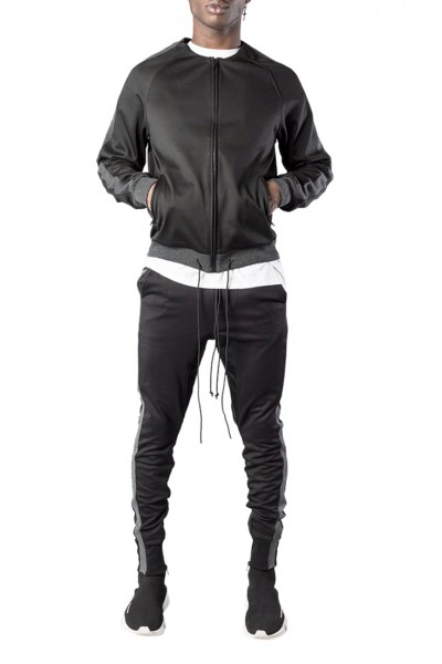 Kollar - Men's Elongated Cuff Track Jacket - Black