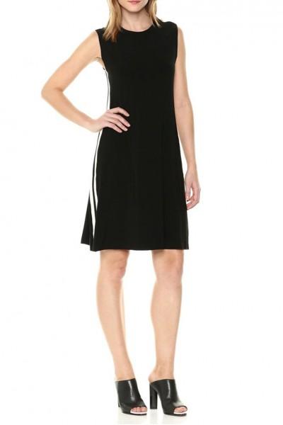 Norma Kamali - Women's Side Stripe Sleeveless Swing Dress - Black.Engineered.Stripe