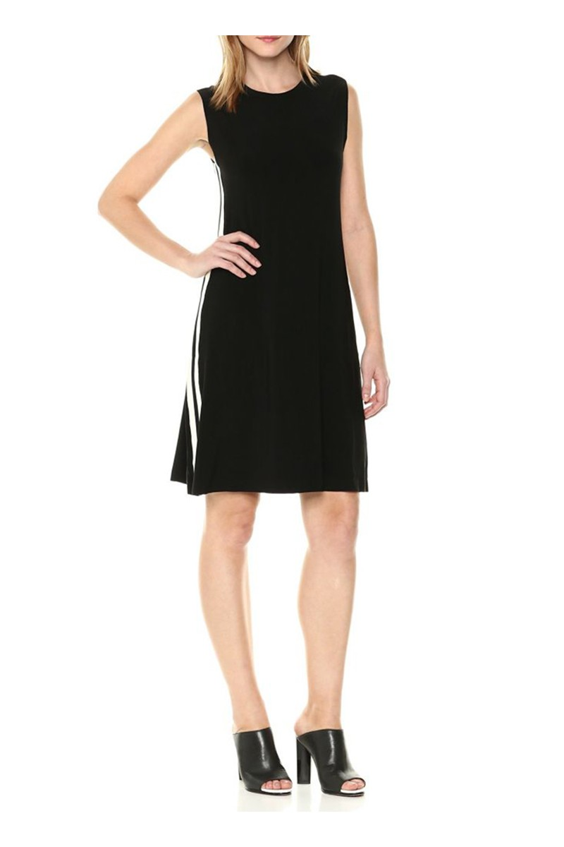 34f33dd5aefbfc Norma Kamali - Women s Side Stripe Sleeveless Swing Dress -  Black.Engineered.Stripe