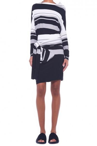 Norma Kamali - Women's Long Sleeve Crew Tee Top - Irregular Stripe