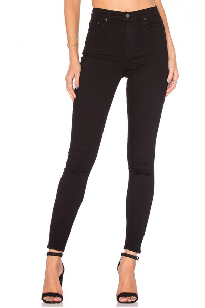 Grlfrnd - Women's Petite Kendal Super Stretch High Rise Skinny Jean - Black Magic