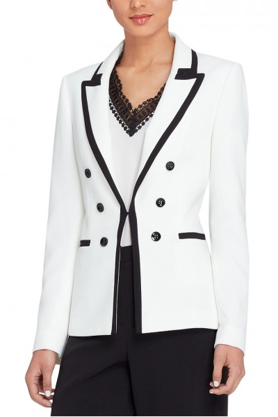 Tahari - Women's Contrast Trim Blazer Regular & Petite - Ivory