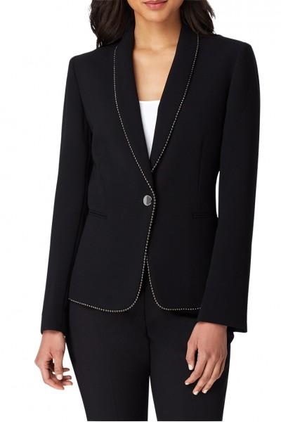 Tahari - Women's Ball Trimmed Shawl Collar Jacket - Black