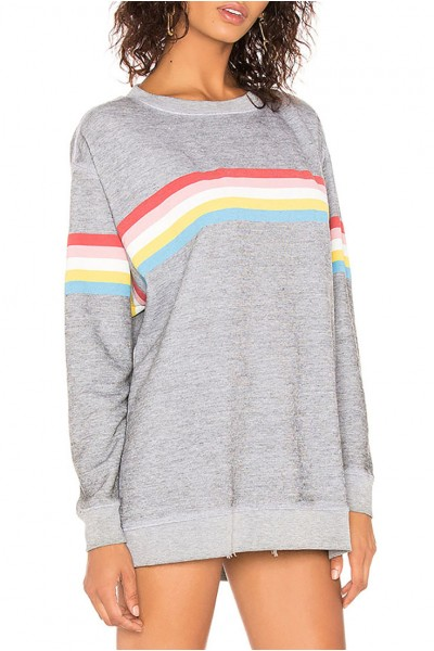 Wildfox  - Women's Marvel Stripe Roadtrip Sweater - Heather