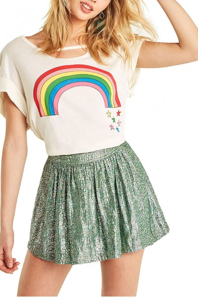 Wildfox  - Women's Rainbow Stars Rivo Tee - Vintage Lace