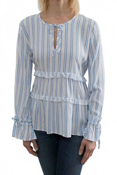 Central Park West - Women's Stripe Blouse - White