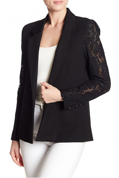 Central Park West - Women's Lace Sleeve Blazer - Black