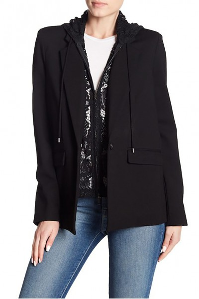 Central Park West - Women's Lace Hooded Blazer - Black