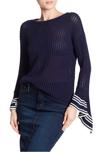Central Park West - Women's Stripe Accent Bell Sweater - Navy