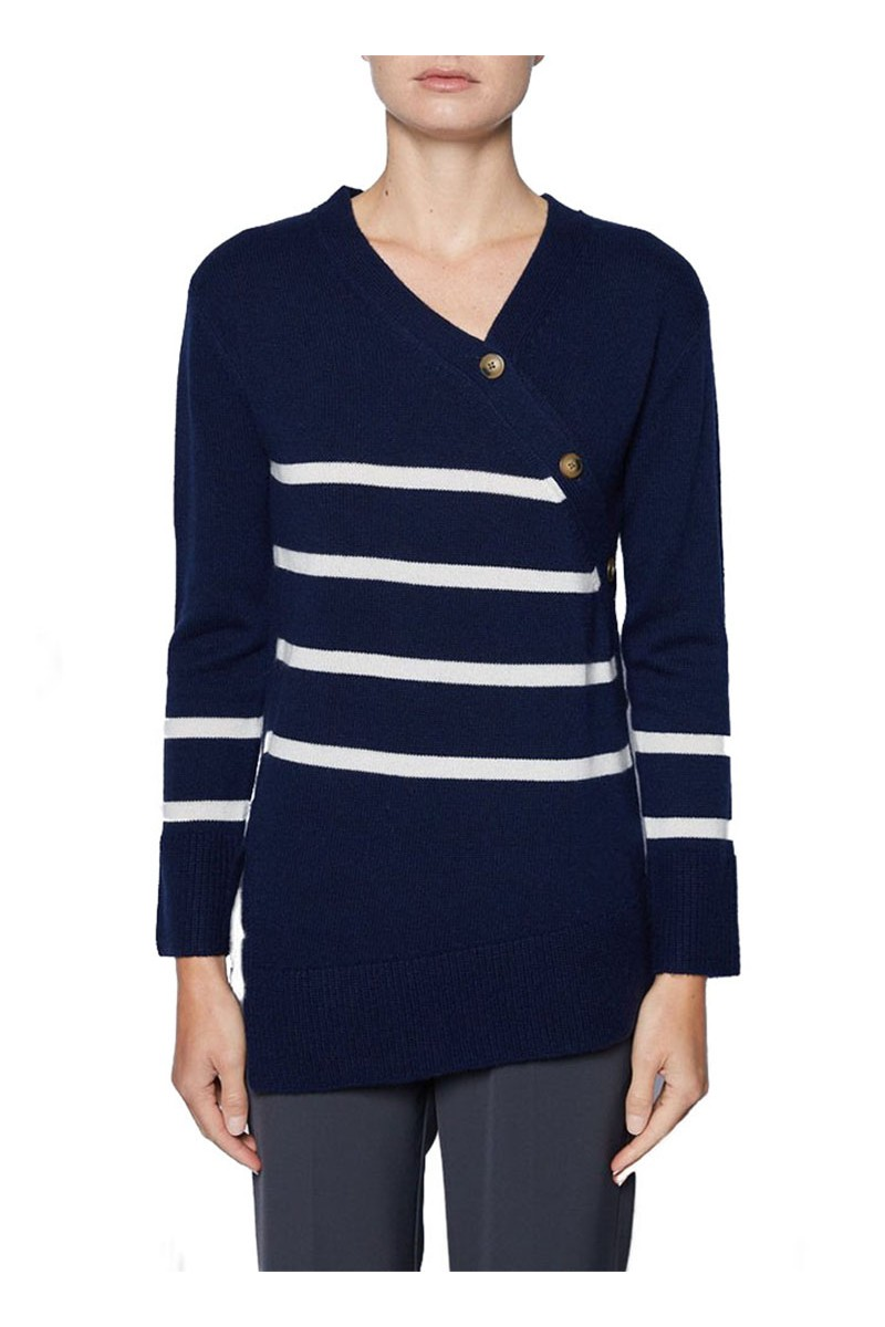 Brochu Walker - Women's Mattie Buttoned stripe Pullover - Regotta Almond Stripe