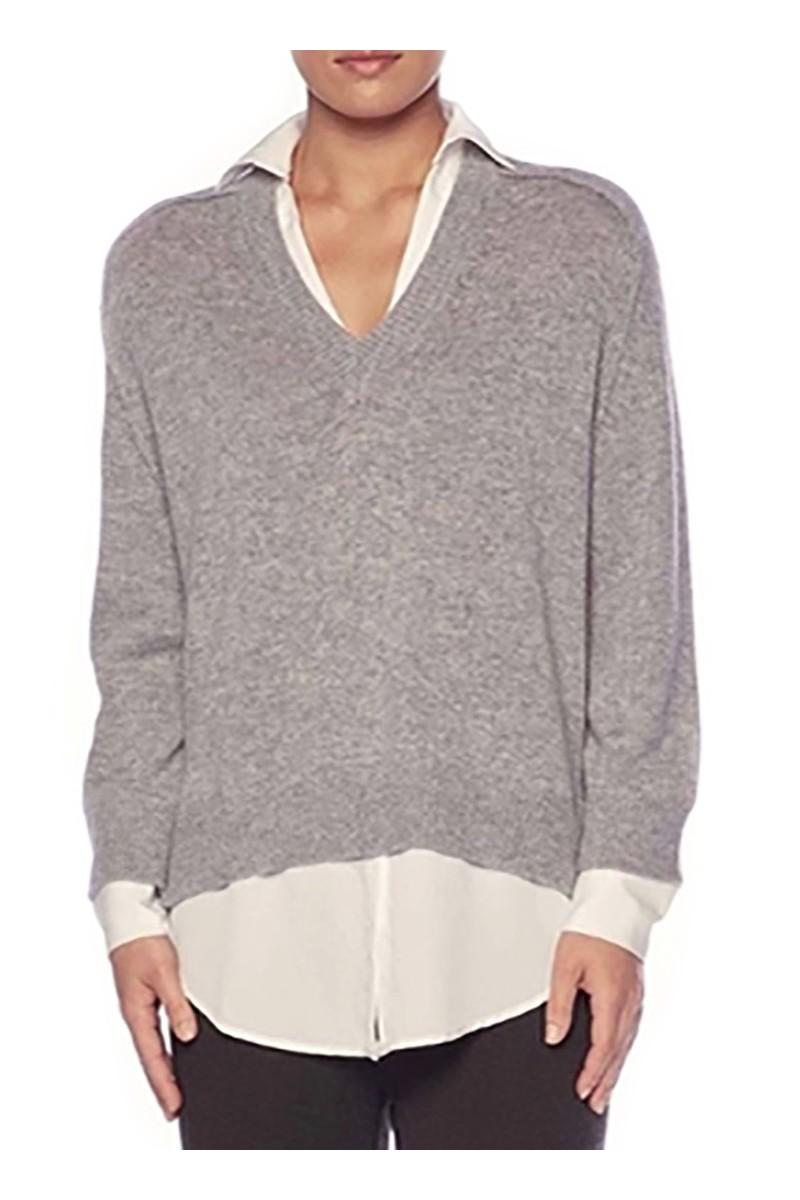 Brochu Walker - Women's V-Neck Layered Pullover - Sterling Melange