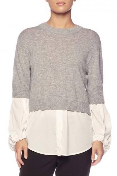 Brochu Walker - Women's Ebele Layered Crew Sweater - Sterling Mel White