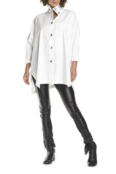 Planet - Women's Tissue Box Pocket Jacuard Blouse - White