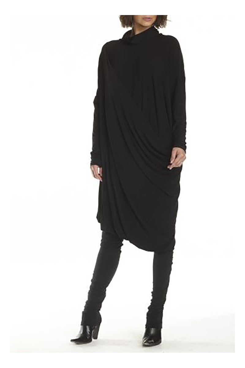 Planet - Women's Cowl Dress - Black