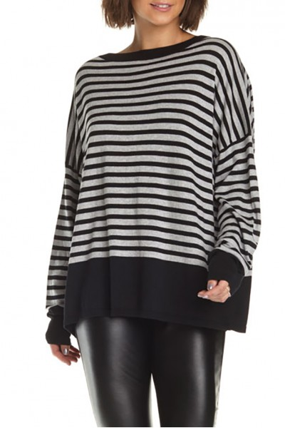 Planet - Women's Cozy Stripe Sweater - Black Heather