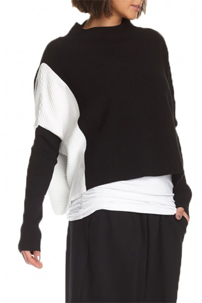 Planet - Women's 2 Tone Rib Sweater - Black White