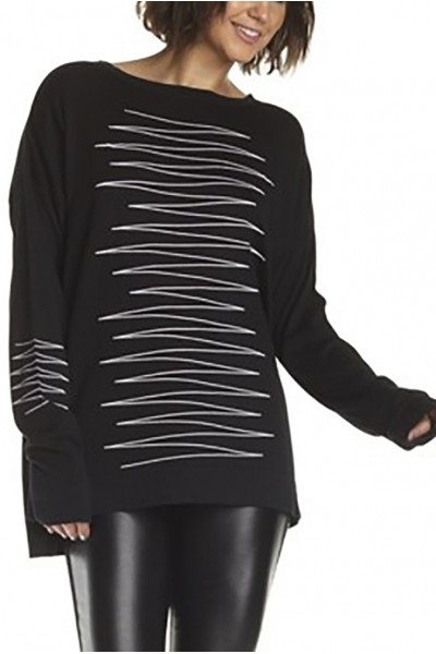 Planet - Women's Heartbeat Sweater - Black White