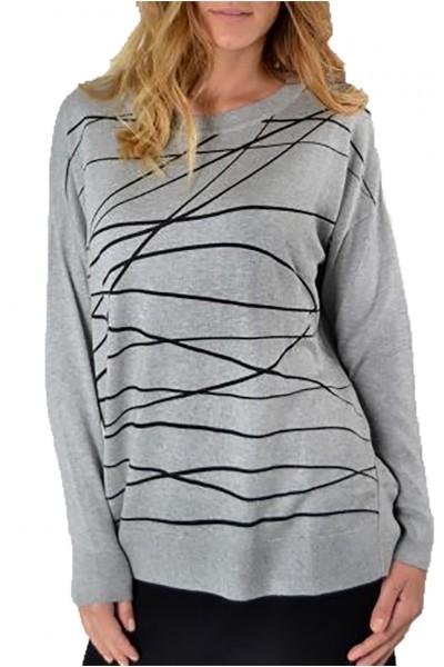 Planet - Women's  Scribble Long Sweater - Heather Black