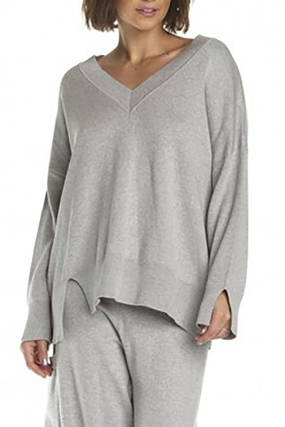 Planet - Women's Chic V Neck Sweater - Heather