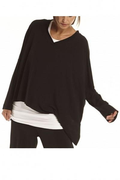 Planet - Women's Double Angle Top - Black