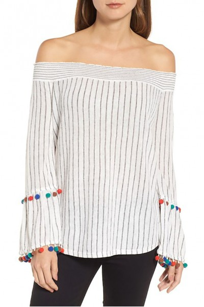 Nic+Zoe - Women's Pompom Cuff Top - Multi