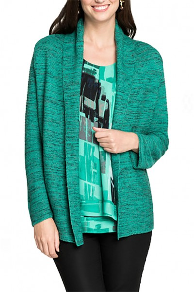 Nic+Zoe - Women's Mixed Up Cardy - Bright Jade