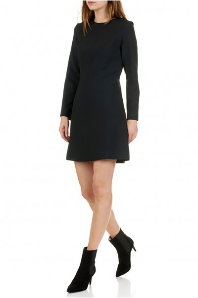 Tara Jarmon - Women's Short Double Canvas Skater Dress - Noir Black