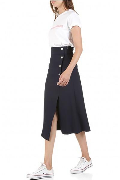 Tara Jarmon - Women's Buttoned Midi Skirt - Bleu Nuit