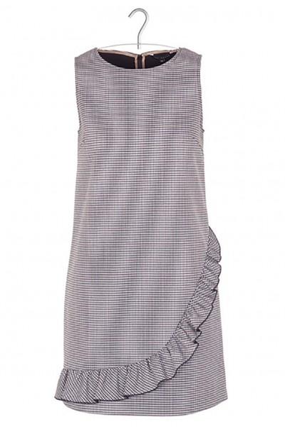 Tara Jarmon - Women's Short Checked Round-Neck Dress With Ruffles - Ecru