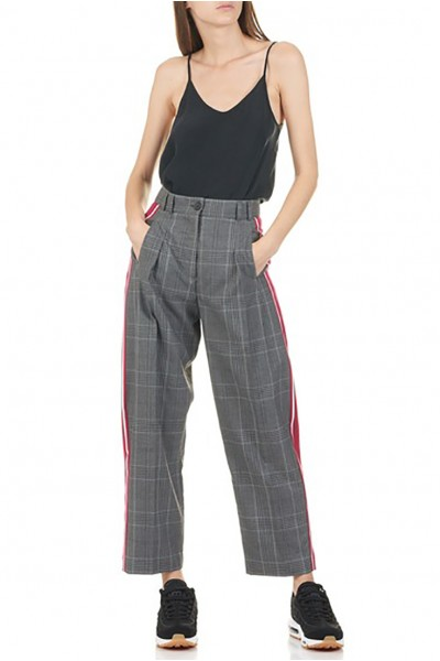 Tara Jarmon - Women's High-Waisted Wide-Leg Linen Pants With Contrasting Strips - Gris Chine Clair