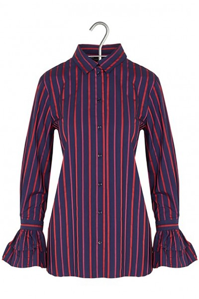 Tara Jarmon - Women's Bell-Sleeve Striped Shirt - Bleu Nuit